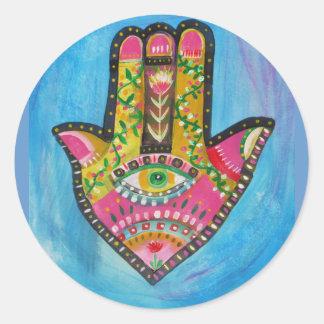 Hamsa Hand painting Classic Round Sticker
