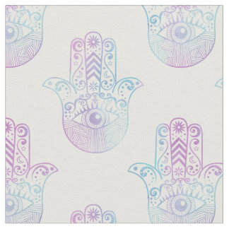 Hamsa Hand Pattern Purple and Blue Fabric