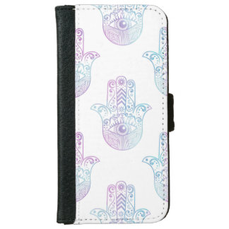 Hamsa Hand Pattern Purple and Blue iPhone 6 Wallet Case