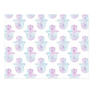 Hamsa Hand Pattern Purple and Blue Postcard