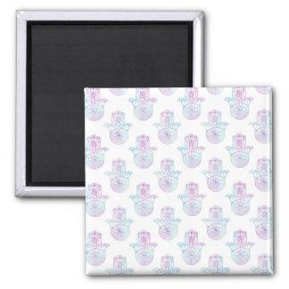 Hamsa Hand Pattern Purple and Blue Square Magnet