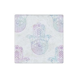 Hamsa Hand Pattern Purple and Blue Stone Magnet