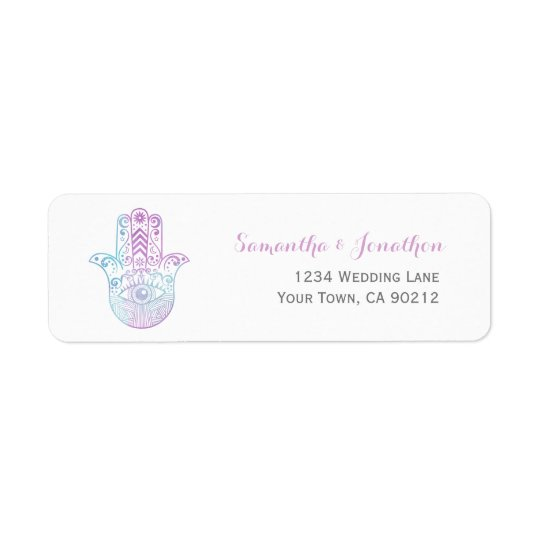 Hamsa Hand Purple and Blue Return Address Stickers Return Address Label