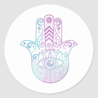 Hamsa Hand Purple and Blue Watercolor Classic Round Sticker