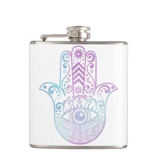 Hamsa Hand Purple and Blue Watercolor Hip Flask