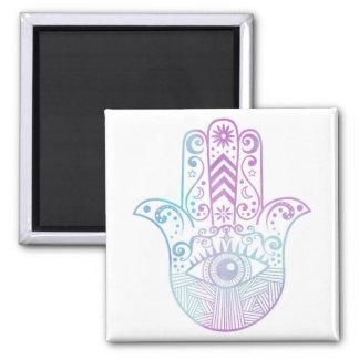 Hamsa Hand Purple and Blue Watercolor 2 Inch Square Magnet
