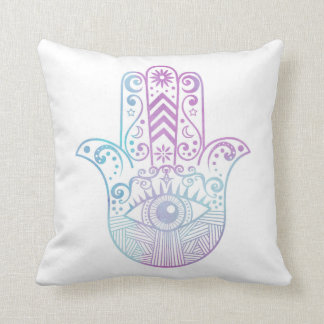 Hamsa Hand Purple and Blue Watercolor Throw Pillow