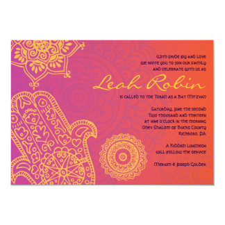 HAMSA HAND Red Orange Bat Mitzvah Invitation