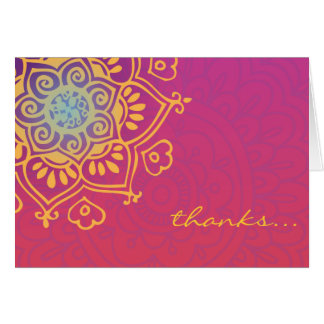 HAMSA HAND Red Orange Bat Mitzvah Thank You Card