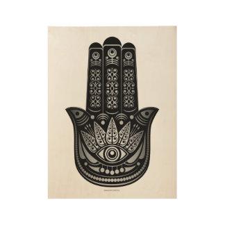 Hamsa Hand Silver Evil Eye Spiritual Wood Poster