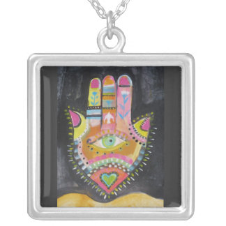 hamsa hand silver plated necklace