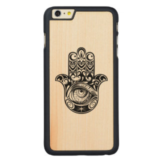 Hamsa Hand Zendoodle Carved® Maple iPhone 6 Plus Case