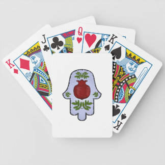 Hamsa, Pomegranate, Light Blue, Stained Glass Zazz Bicycle Playing Cards