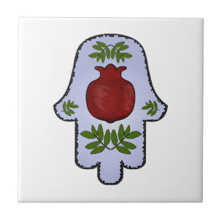 Hamsa, Pomegranate, Light Blue, Stained Glass Zazz Tile