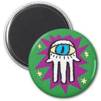 Hamsa Purple and Green 6 Cm Round Magnet