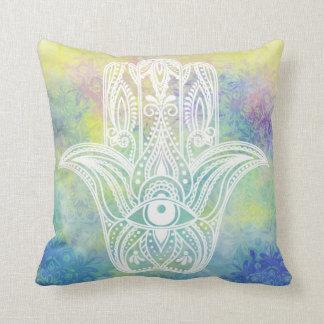 Hamsa Symbol Colorful Watercolor Cushion