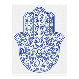 hamsa*tunis*morocco*henna*blue postcard