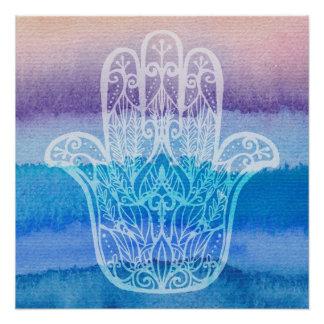 Hamsa Watercolor Poster Design Pastel Ocean