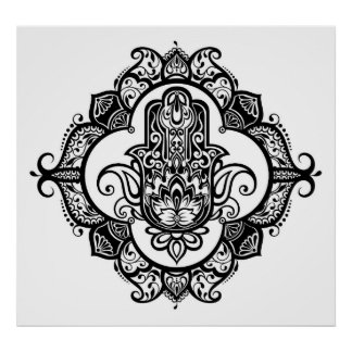 Hamsa With Ethnic Ornaments Doodle 2 Poster