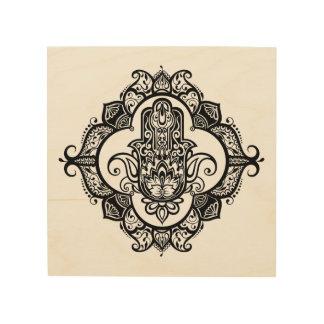 Hamsa With Ethnic Ornaments Doodle 5 Wood Print