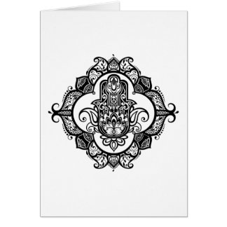 Hamsa With Ethnic Ornaments Doodle Card