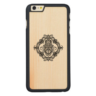 Hamsa With Ethnic Ornaments Doodle Carved Maple iPhone 6 Plus Case