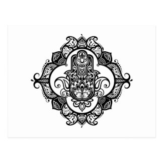 Hamsa With Ethnic Ornaments Doodle Postcard