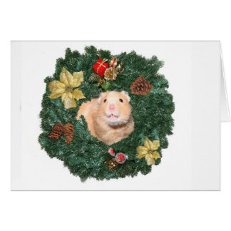 Hamster and Christmas wreath Card