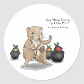 Hamster and Ninja Fruit Classic Round Sticker