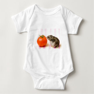Hamster and tomato baby bodysuit