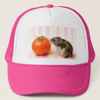 Hamster and tomato trucker hat