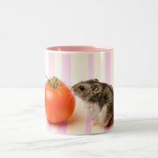 Hamster and tomato Two-Tone coffee mug