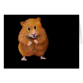 HAMSTER: ART ON BLACK: COLOR PENCIL GREETING CARD