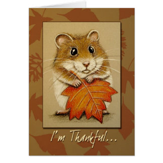 Hamster & Autumn Leaf - Thanksgiving Card