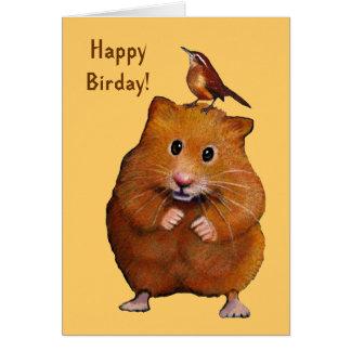 Hamster & Bird: Happy Bird Day, Birthday Greeting Card