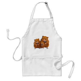 Hamster Family of Three: Cute: Color Pencil Standard Apron