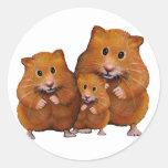 Hamster Family of Three: Cute: Colour Pencil Round Sticker