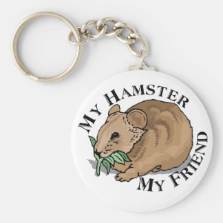 Hamster Friend Basic Round Button Key Ring