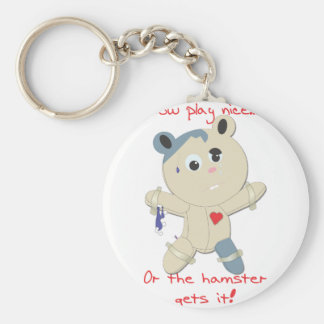 hamster hostage basic round button key ring