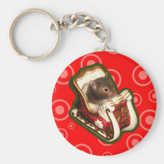 Hamster in a sled basic round button key ring