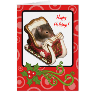 Hamster in a sled card