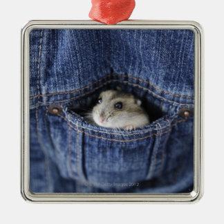 Hamster in pocket Silver-Colored square decoration