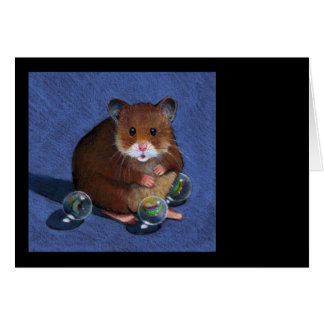 HAMSTER, MARBLES: COLOR PENCIL ART GREETING CARD