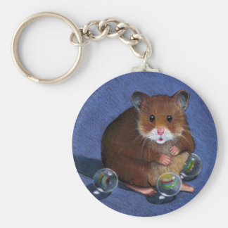 HAMSTER, MARBLES: COLOR PENCIL ART BASIC ROUND BUTTON KEY RING