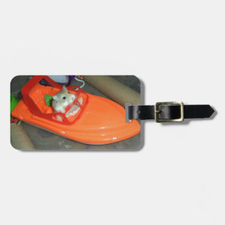 Hamster on a boat luggage tag