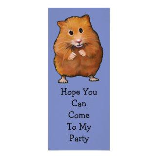 "HAMSTER PARTY INVITATION: Original Art 4"" X 9.25"" Invitation Card"