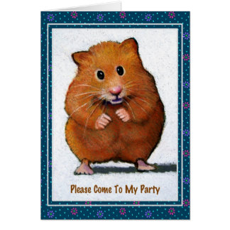 HAMSTER PARTY INVITATION: Original Art Note Card