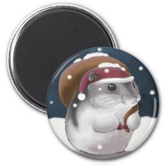Hamster Santa Magnet