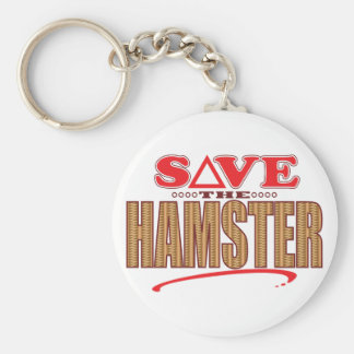 Hamster Save Basic Round Button Key Ring