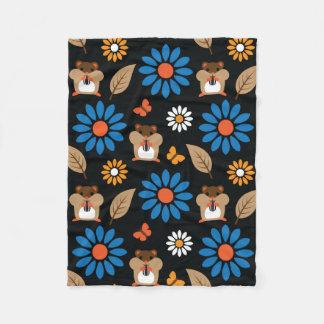 Hamster & Sunflower seamless pattern (ver.5) Fleece Blanket